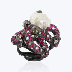 Octopus ring with rosebud Pearl, Ruby & Diamond