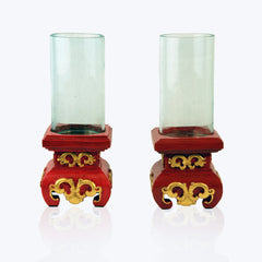 Glass and Wood candle holder (1 pair)