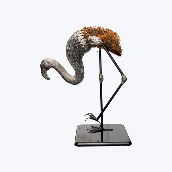 Bamboo Root Silver Flamingo with Bamboo Root