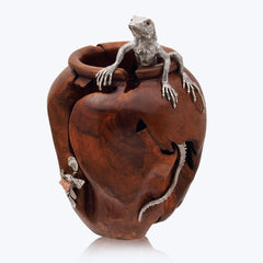 Teak Wood jar with Silver Iguana