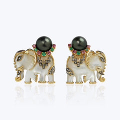 Mother of Pearl Elephant Earrings with Black Pearls