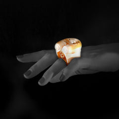 Woman wearing Shell Ring with Pearl & Diamonds