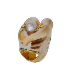Shell Ring with Pearl & Diamonds