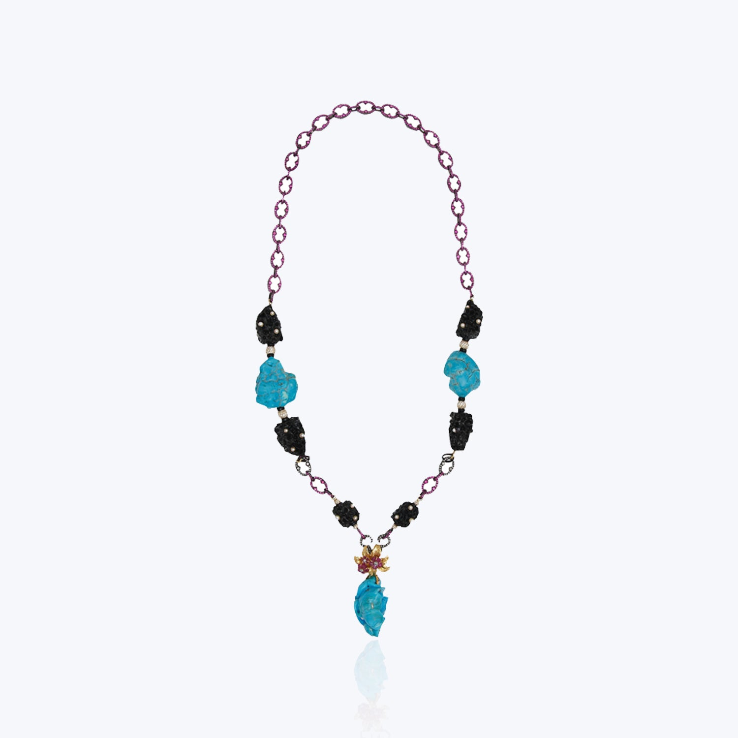 Turquoise necklace with Wooden nugget, Ruby & Pink tourmalines