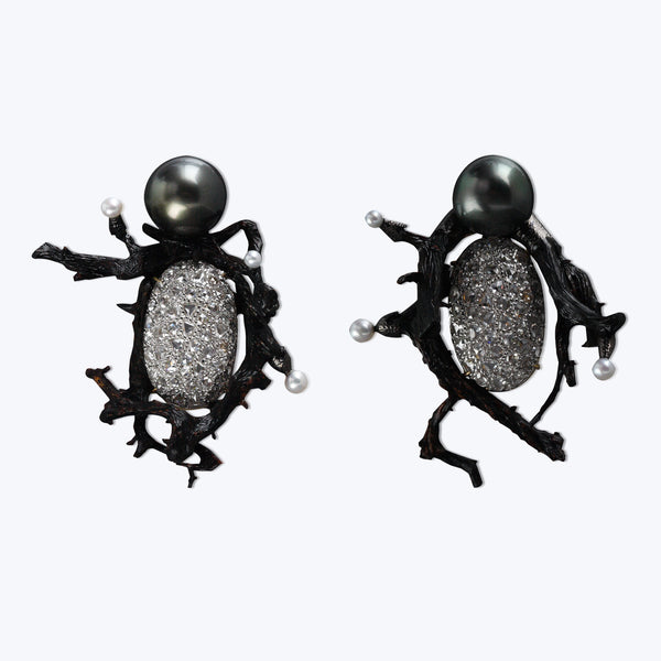 Diamond Earrings with Pearls & Polished Black Wood