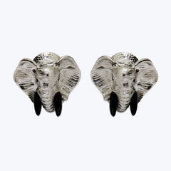 Elephant Cufflinks with Black wood & Diamonds