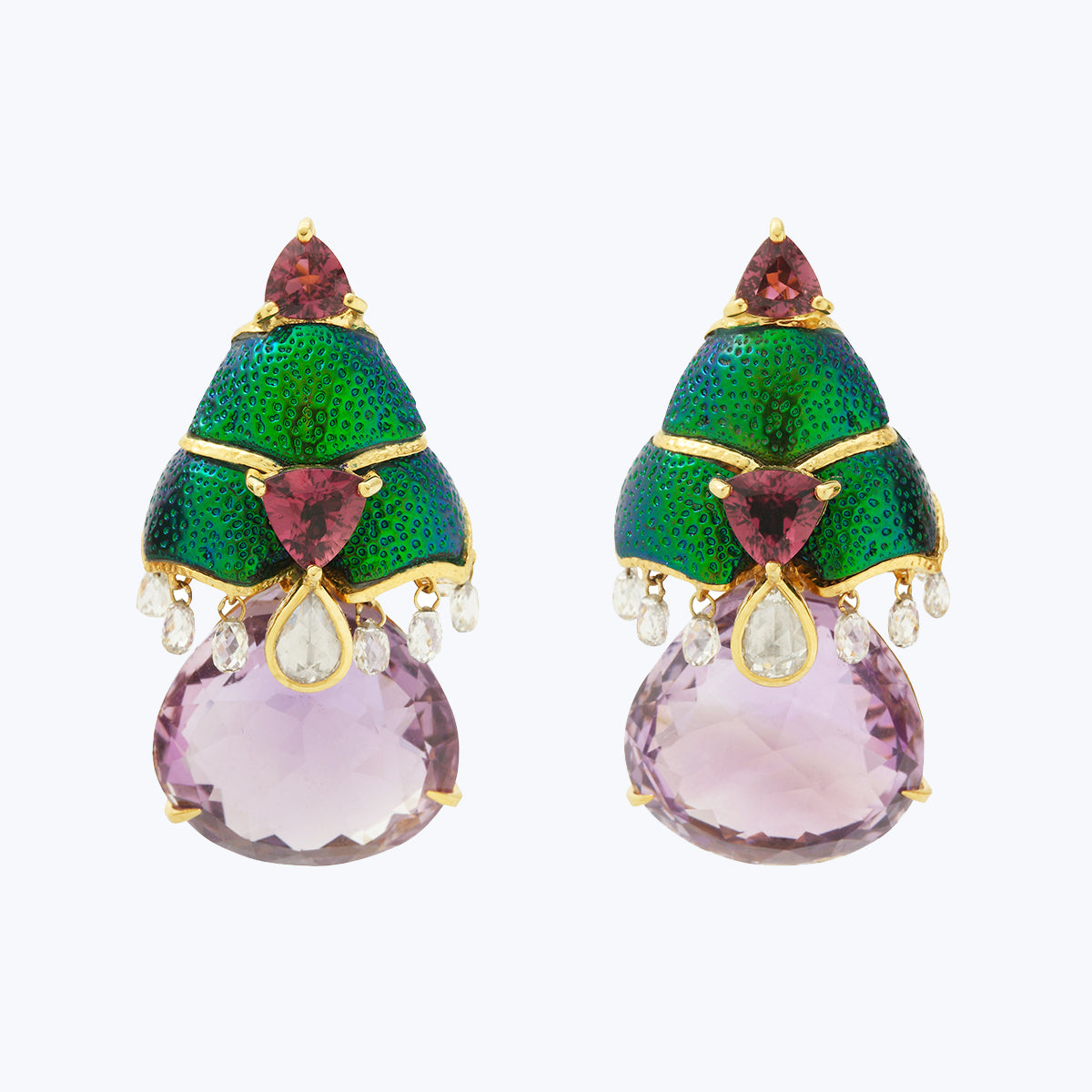 Scarab Earrings with Amethyst & Diamond