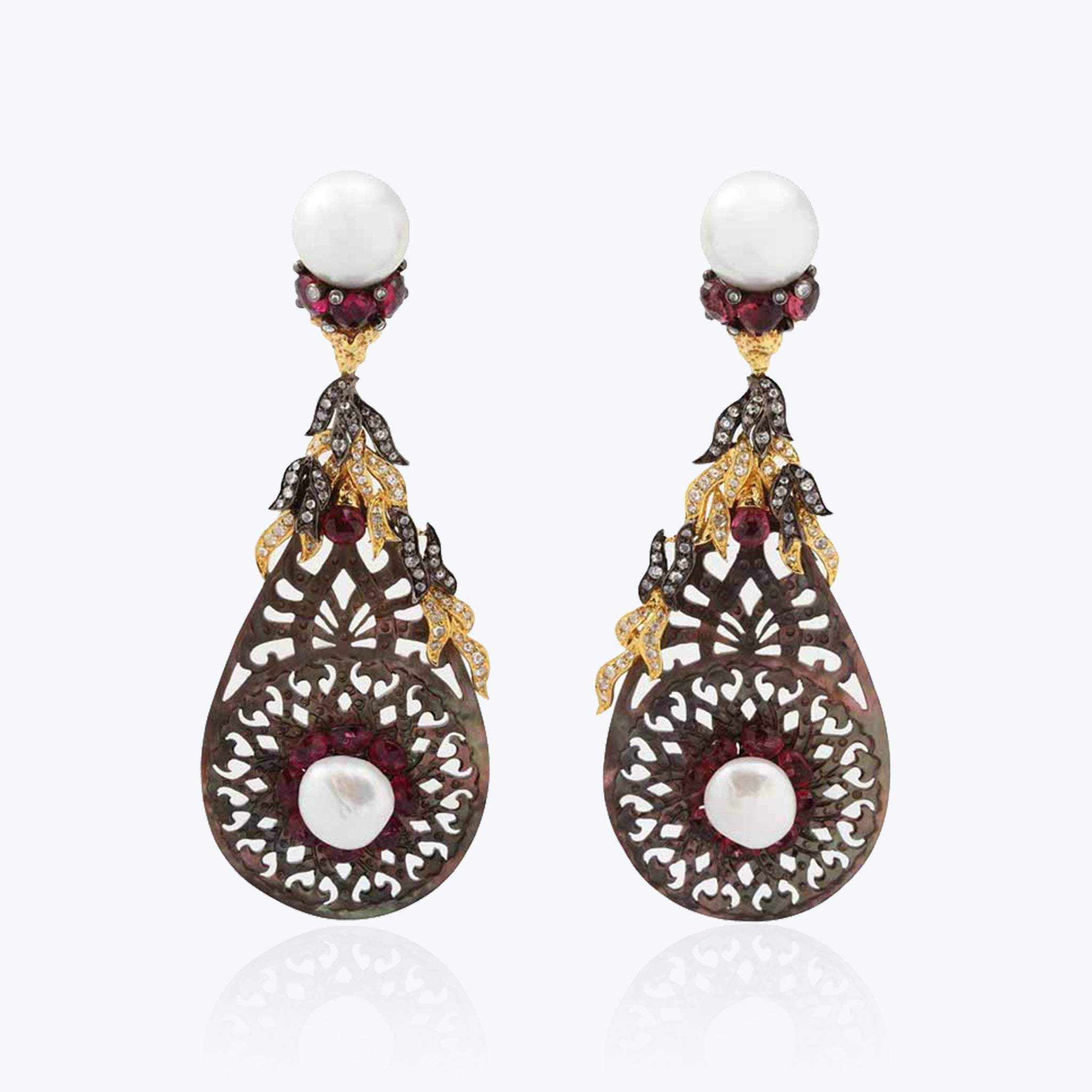 Carved Shell Earring with Rubellite and Pearl