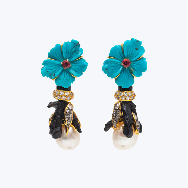 Turquoise Earring with Pearl and Diamond