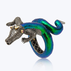 Crocodile Bangle with Scarab & diamond