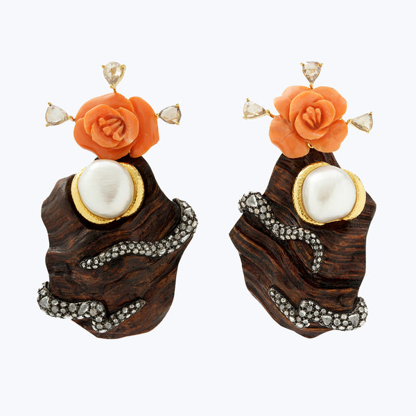 Carved Red Stone flower earrings with Liana wood