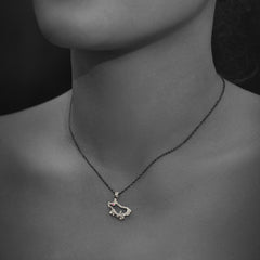 Woman wearing Astrology Silver Pendant - Ram with Silver Chain