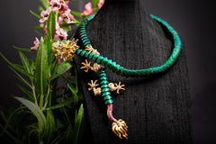 Scarab Dragon Necklace with Diamonds, Rubies & Emerald