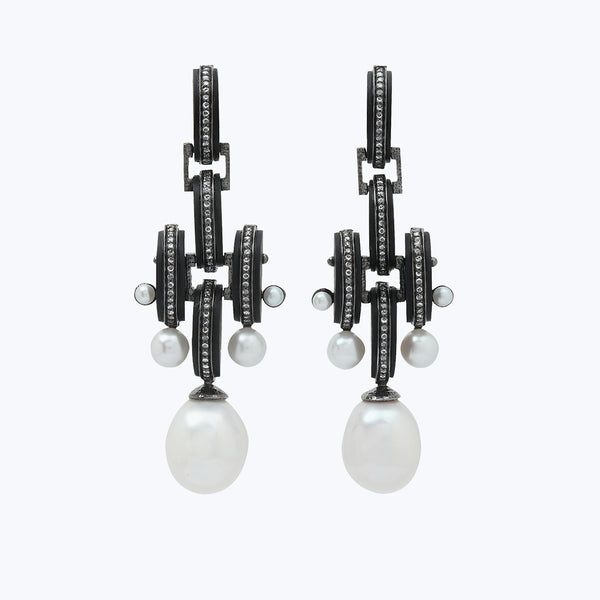 Black Wood Earrings with Pearl and diamond