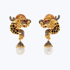 Dragon earrings with Pearl and Diamond