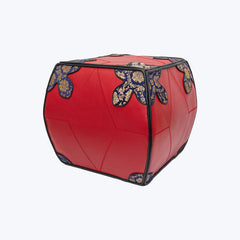 Red Cow leather pouffe (stool) with Chinese Silk Brocade - Size S