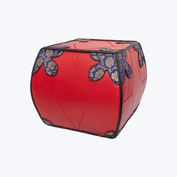 Red Cow Leather Pouffe (stool) with Chinese Silk Brocade - Size  - Large