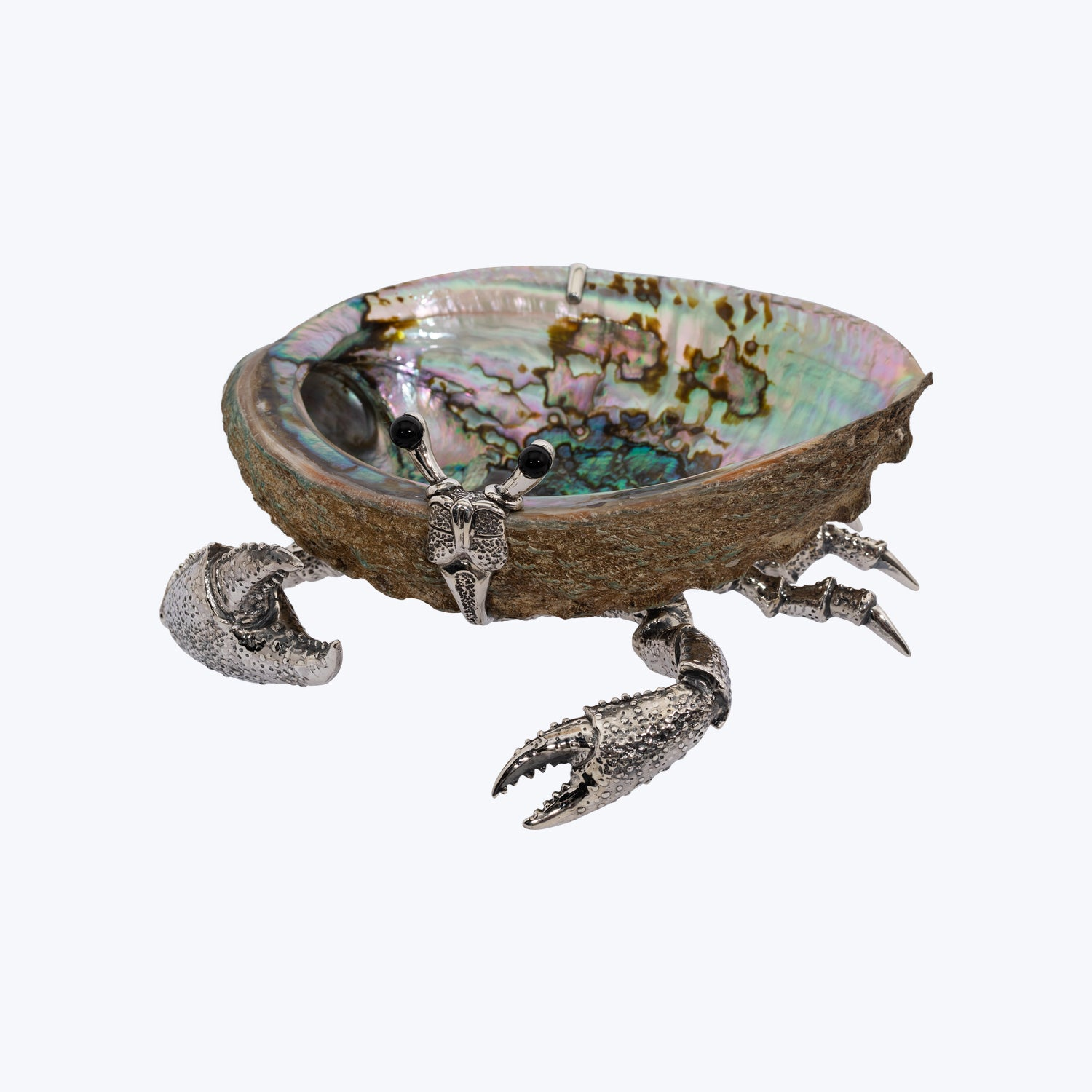 Abalone Shell Bowl with Silver Crab
