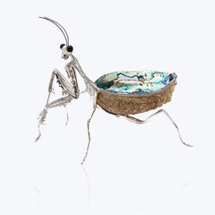 Abalone Shell Bowl with Silver Praying Mantis