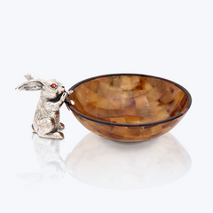 Brown Shell bowl with Silver Rabbit
