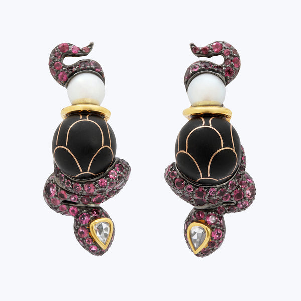 Snake Earrings with Black wood inlay, Pink tourmalines & Diamonds