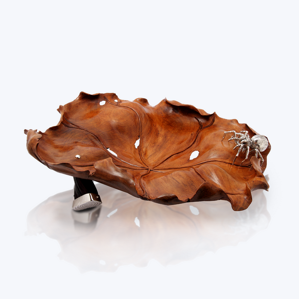 Teak Wood Bowl with Silver Spider