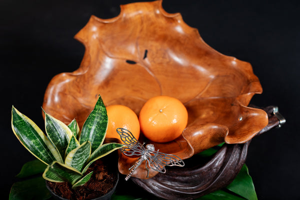 Teak Wood Bowl with Silver Dragonfly