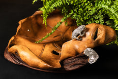 Carved Teak Wood Leaf Bowl with Silver Chameleon