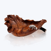 Teak Wood Bowl with Silver Chameleon