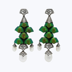 Scarab Earrings with Pearl and Diamond