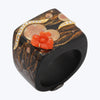 Japanese Lacquer Ring with Red Flower & Diamonds