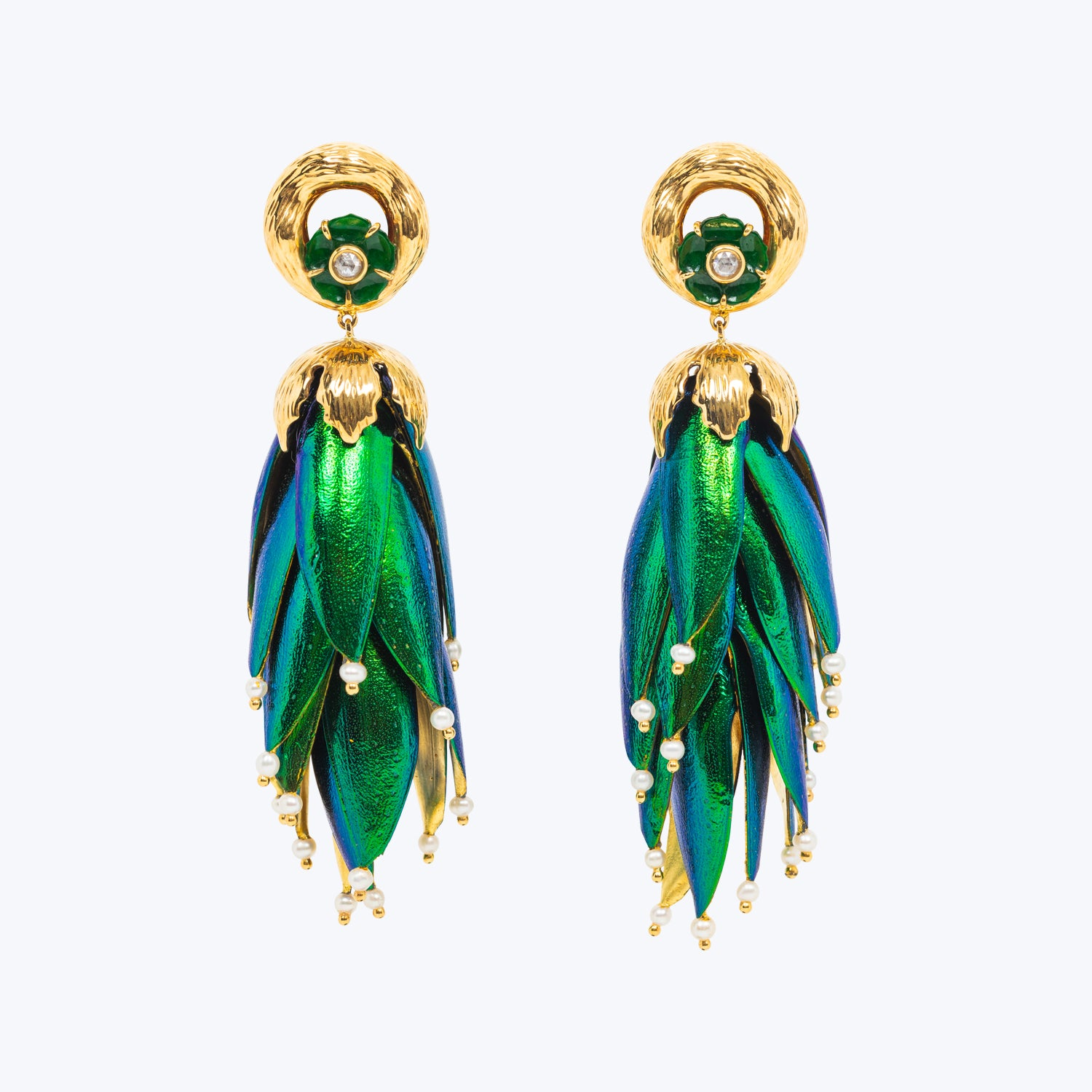Scarab Earrings with Jade and Diamond wt. 44.77 g.