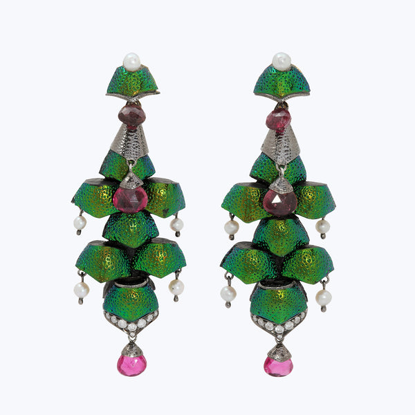 Scarab earrings with Pink tourmaline, Diamonds & Pearl