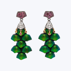 Scarab Chandelier earring with Diamond and Pink Tourmaline wt. 22.07 g.