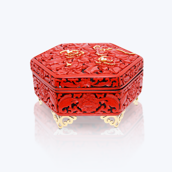 Cinnabar Lacquer Container with Pearl