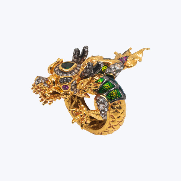 Dragon Ring with Scarab and Diamond