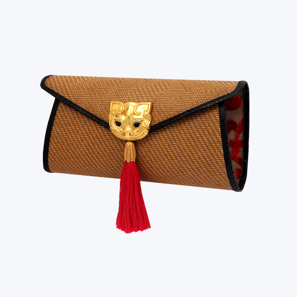 Bamboo Handbag with Gold gilded Pig