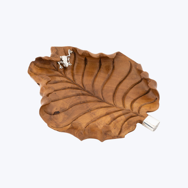 Wooden Leaf Tray with Silver Frog