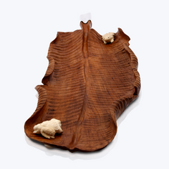 Wooden Banana Leaf tray with Bone Frogs