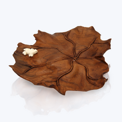 Wooden Lotus Leaf bowl with Bone Frog