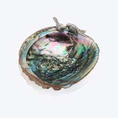 Abalone Shell Bowl with Silver Birds
