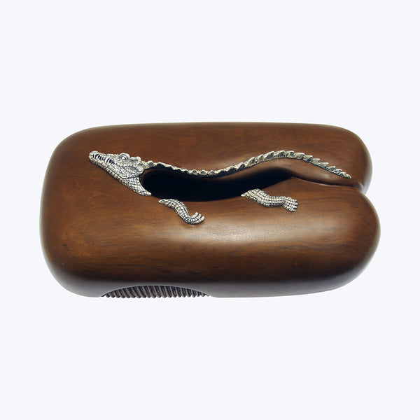 Tissue Box with Silver Crocodile