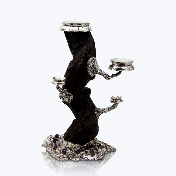 Liana Wood Candle Holder with Amethyst