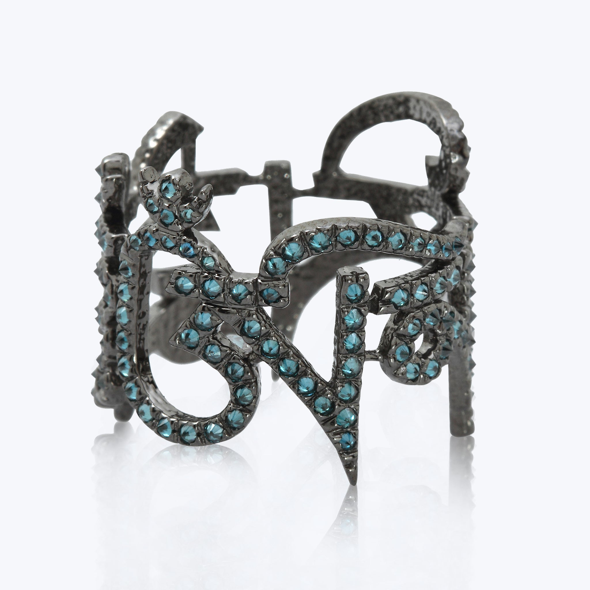 Tibetian Mantra Ring with Blue diamonds