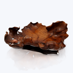 Teak Wood Bowl with Silver Snail