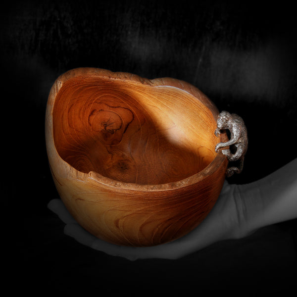 Teak Wood Bowl with Silver Monkey