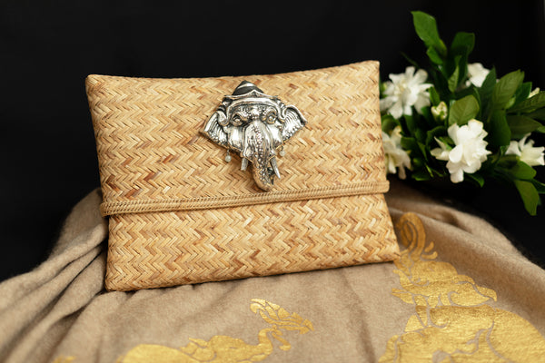 Rattan Handbag with Silver Ganesha