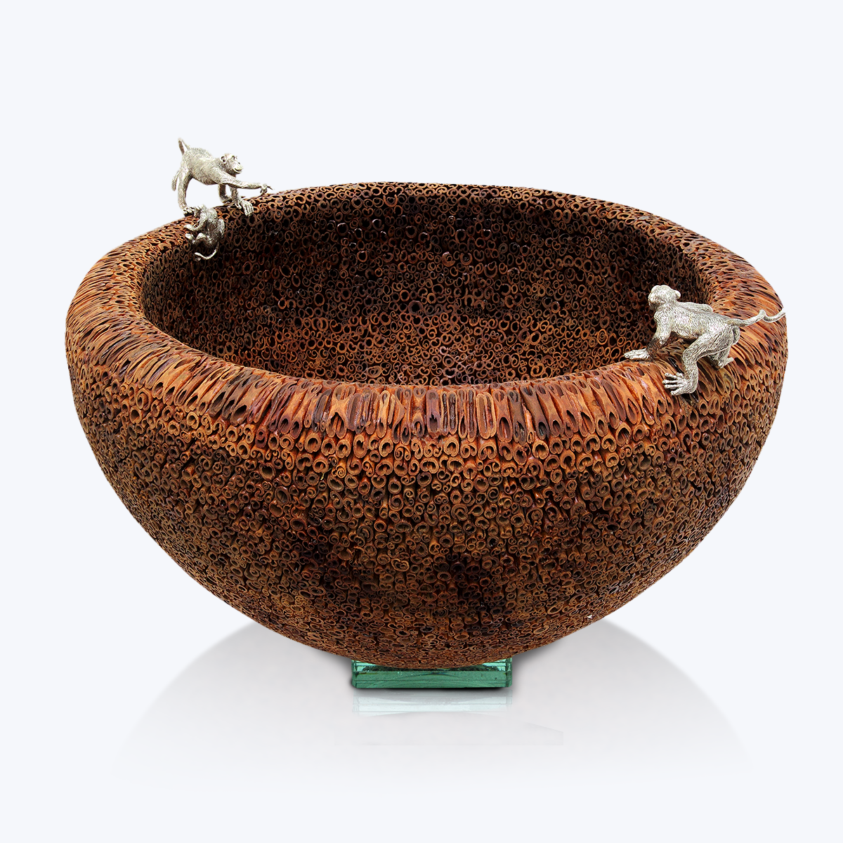 Cinnamon Bowl with Silver Monkeys