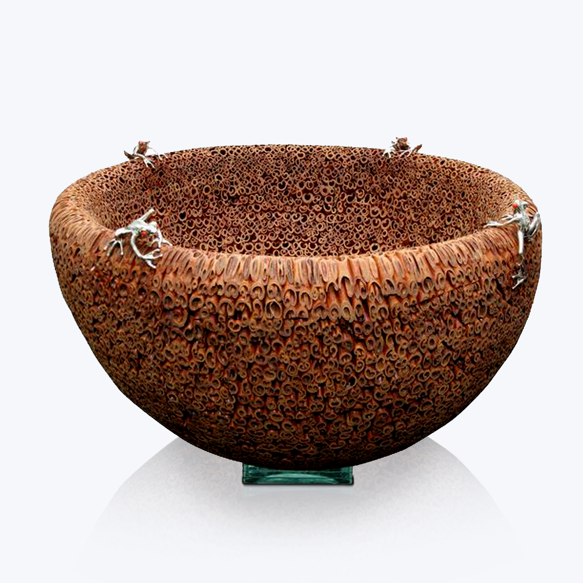 Cinnamon Bowl with Silver Frogs