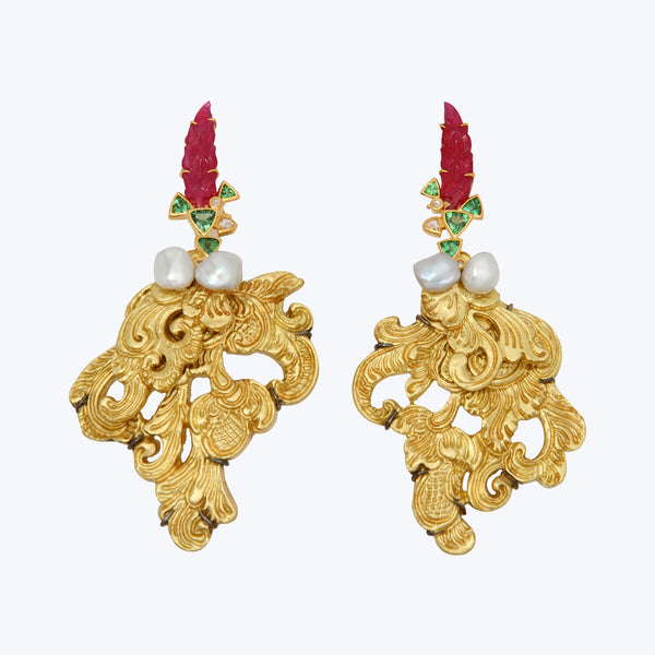 Carved Coconut earrings with Rubies & Tsavorites